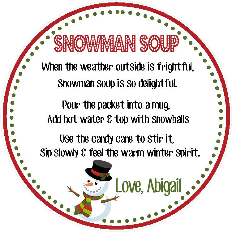 Snowman Soup Gift Tag