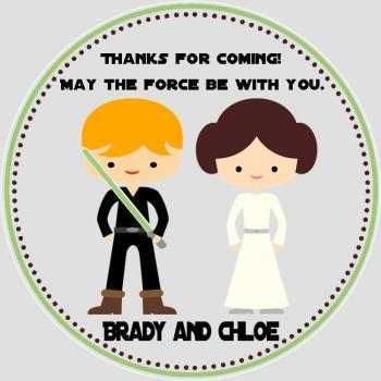 Luke Skywalker and Princess Leia Favor Tags