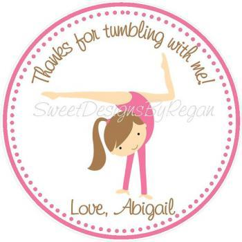 Gymnastic Favor Tags - Set of (12) Printed on Cardstock