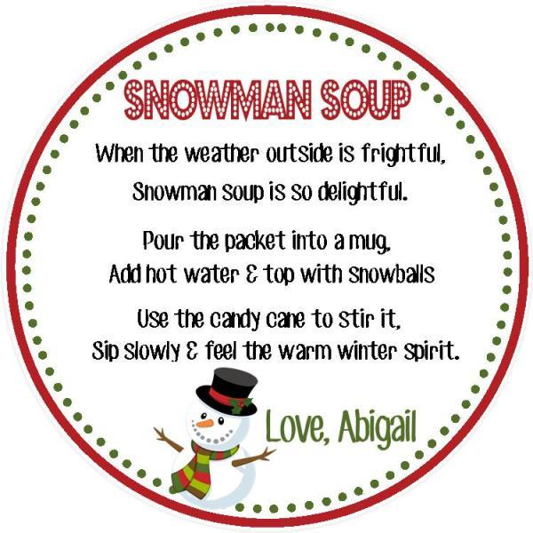 Snowman Soup - Gift Tag