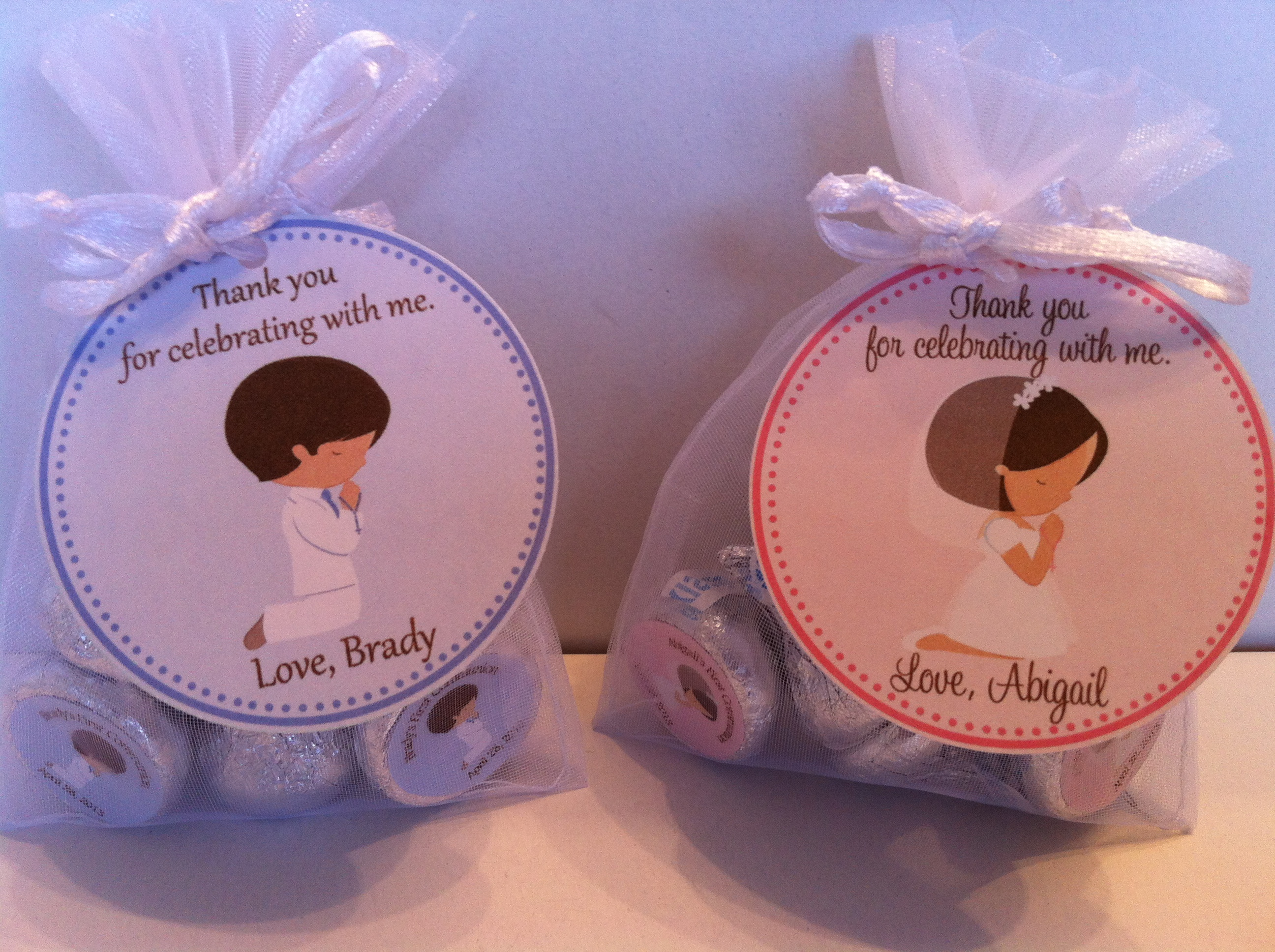 First Communion Organza Favor Bags
